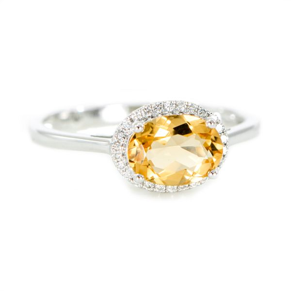 White Gold Ring with Oval Faceted Citrine and a Halo of Round Diamonds J. Schrecker Jewelry Hopkinsville, KY