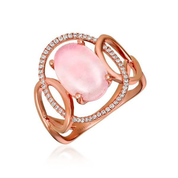 Rose Quartz and Diamond Ring in Strawberry Rose Gold J. Schrecker Jewelry Hopkinsville, KY