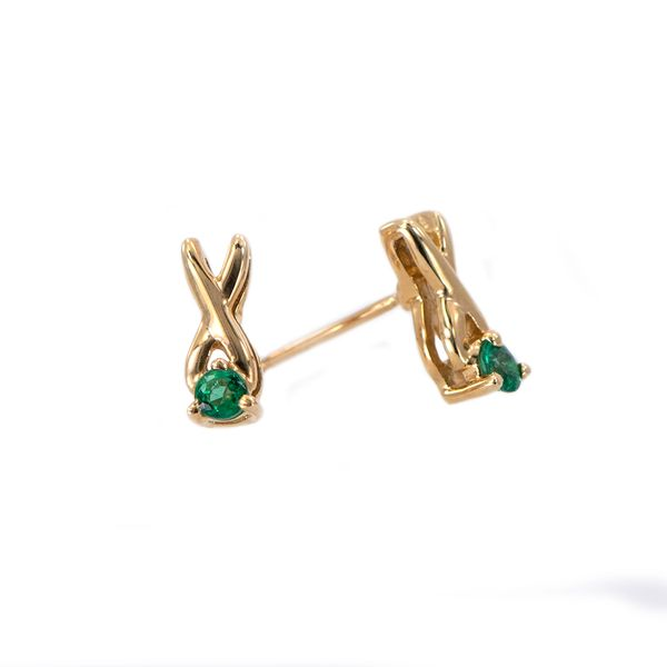 Yellow Gold X Design Earrings with Round Emerald J. Schrecker Jewelry Hopkinsville, KY