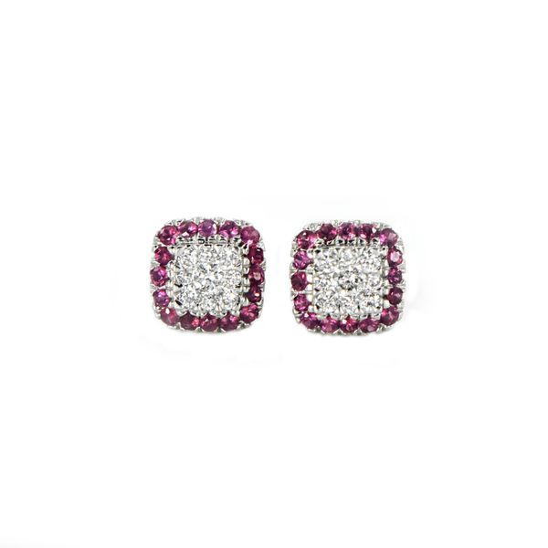 Ruby and Diamond Stud Earrings in White Gold J. Schrecker Jewelry Hopkinsville, KY