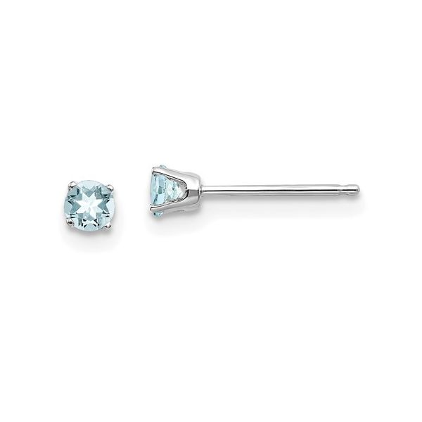 Round Aquamarine Stud Earrings in White Gold J. Schrecker Jewelry Hopkinsville, KY