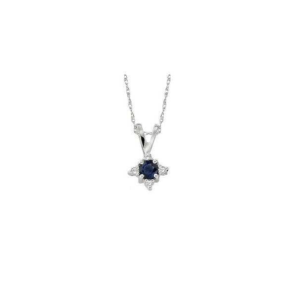White Gold Round Blue Sapphire Pendant with Four Round Accent Diamonds J. Schrecker Jewelry Hopkinsville, KY