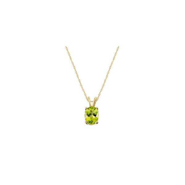Yellow Gold Pendant with Oval Checkerboard Cut Peridot and Round Diamond J. Schrecker Jewelry Hopkinsville, KY