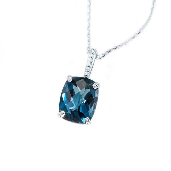 White Gold Diamond and Antique Cushion Cut London Blue Topaz Pendant with Round Accent Diamonds J. Schrecker Jewelry Hopkinsville, KY