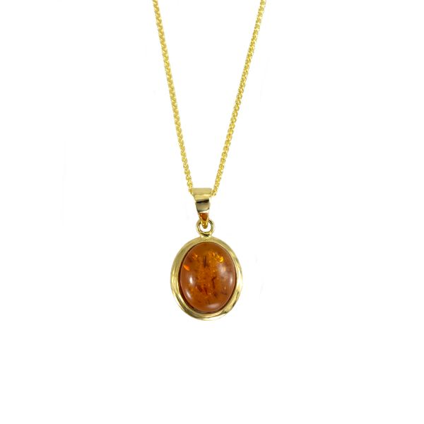 Oval Bezel Set Amber Cabochon Pendant in Yellow Gold J. Schrecker Jewelry Hopkinsville, KY
