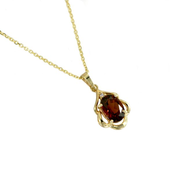 Oval Faceted Garnet Pendant with Fluted Detail in Yellow Gold J. Schrecker Jewelry Hopkinsville, KY