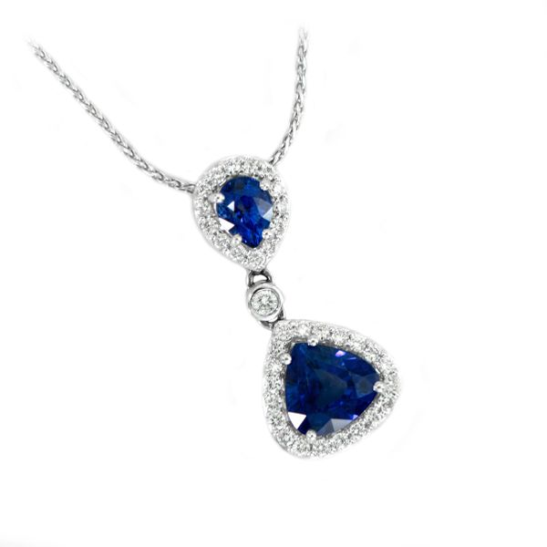 Blue Sapphire Pendant with Diamond Halos in White Gold J. Schrecker Jewelry Hopkinsville, KY