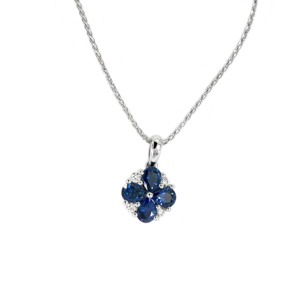 Sapphire and Diamond Cluster Pendant in White Gold J. Schrecker Jewelry Hopkinsville, KY