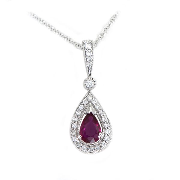 Pear Shaped Ruby Pendant with Diamond Halo in White Gold J. Schrecker Jewelry Hopkinsville, KY