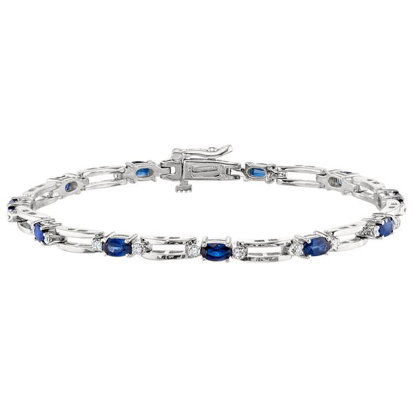 White Gold Bracelet with Oval Sapphires and Round Diamonds in an Open Bar Link Design J. Schrecker Jewelry Hopkinsville, KY
