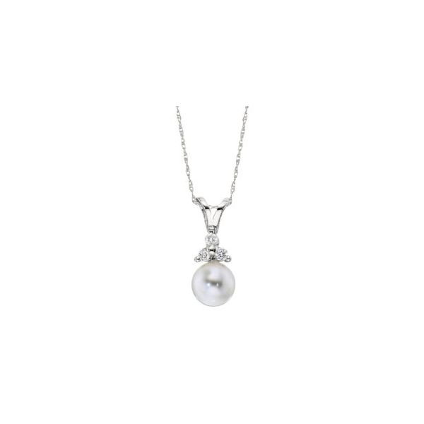 White Pearl and Diamond Pendant in White Gold J. Schrecker Jewelry Hopkinsville, KY