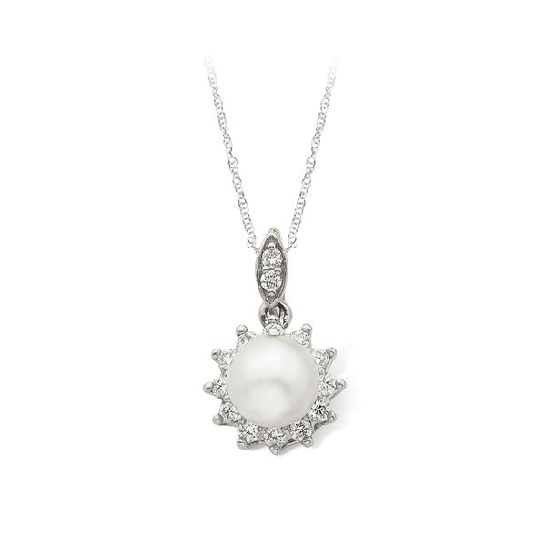 White Gold Pearl Pendant with Diamond Halo J. Schrecker Jewelry Hopkinsville, KY