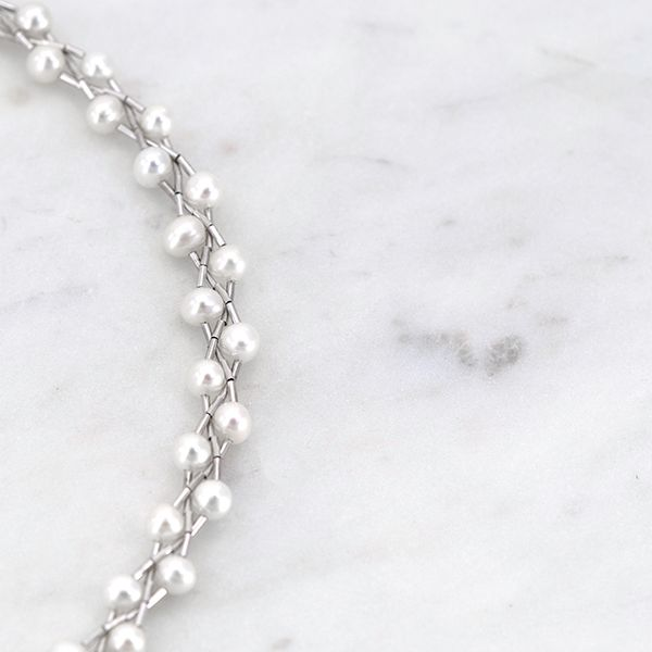 Sterling Silver Braided White Pearl Necklace Image 2 J. Schrecker Jewelry Hopkinsville, KY