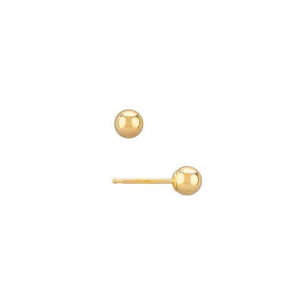Yellow Gold 4 Millimeter Ball Stud Earrings in a Polished Finish J. Schrecker Jewelry Hopkinsville, KY