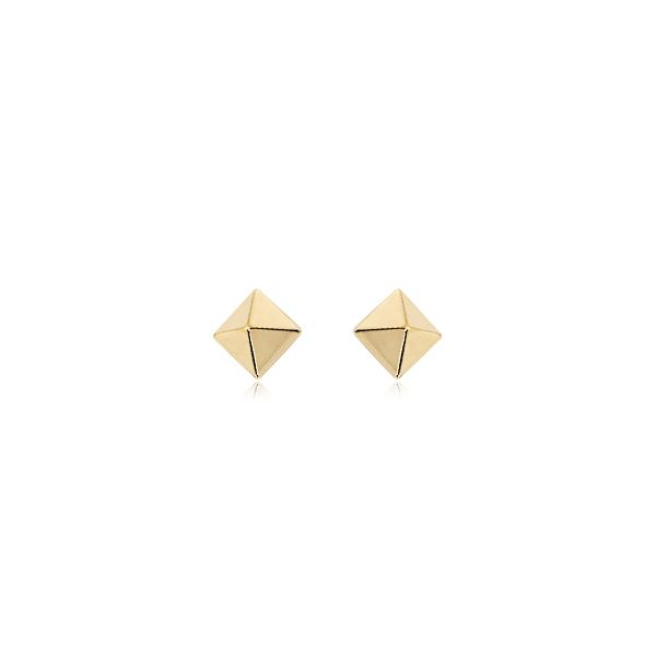 Yellow Gold Small Pyramid Stud Earrings J. Schrecker Jewelry Hopkinsville, KY