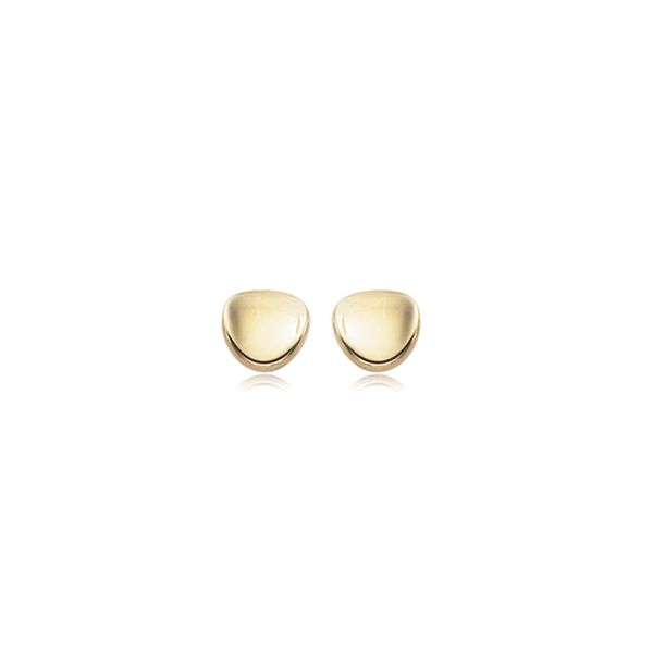 Yellow Gold Small 8 Millimeter Dapped Disk Stud Earrings J. Schrecker Jewelry Hopkinsville, KY