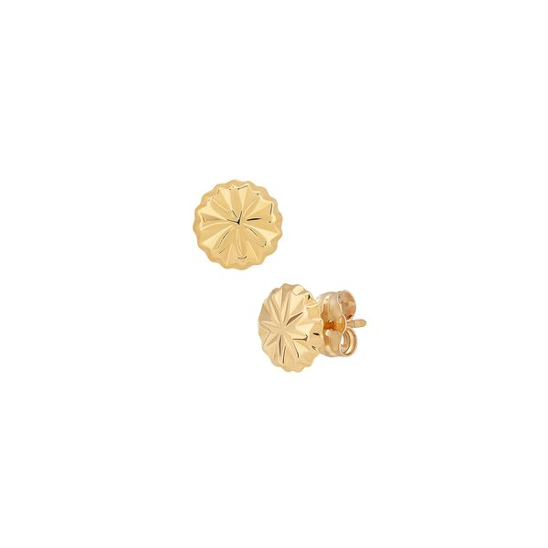 Yellow Gold Faceted Diamond Cut Round Button Stud Earrings J. Schrecker Jewelry Hopkinsville, KY
