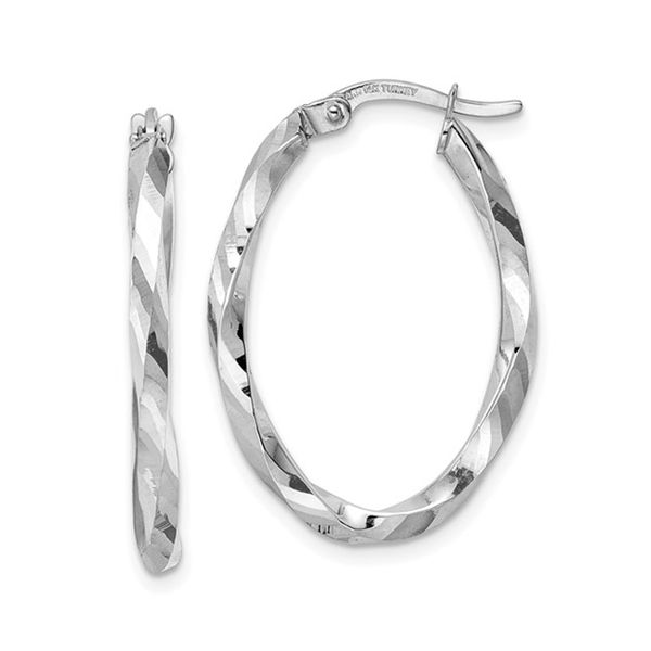 White Gold Oval Twist Hoop Earrings J. Schrecker Jewelry Hopkinsville, KY