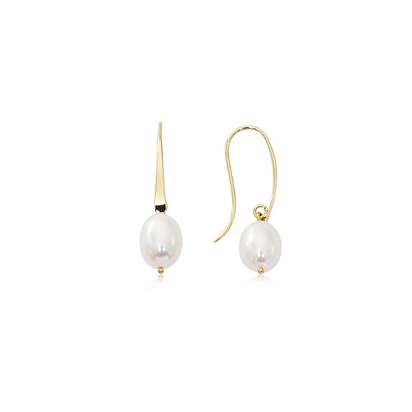 Yellow Gold Elegant Drop Earrings with Oval Freshwater Pearl J. Schrecker Jewelry Hopkinsville, KY