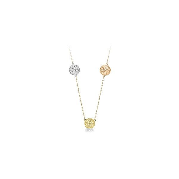 White, Yellow, Rose Gold 10 Millimeter Mesh Three Dimensional Sphere Necklace J. Schrecker Jewelry Hopkinsville, KY
