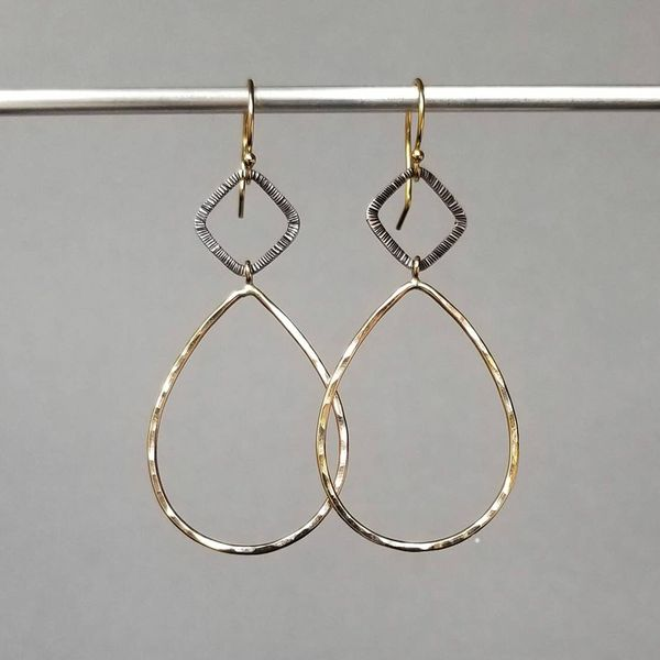 Yellow Gold Filled Hammered Pear Shape and Textured Sterling Silver Cushion Shape Dangle Earrings J. Schrecker Jewelry Hopkinsville, KY