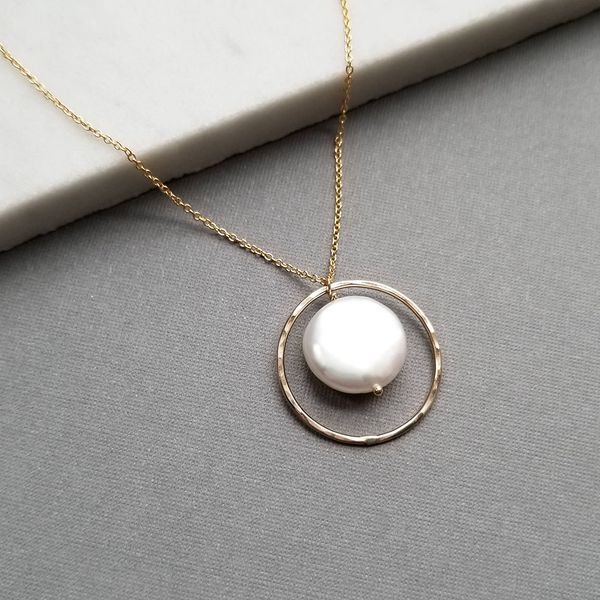 Yellow Gold Filled Necklace with White Coin Shaped Freshwater Pearl in Halo J. Schrecker Jewelry Hopkinsville, KY
