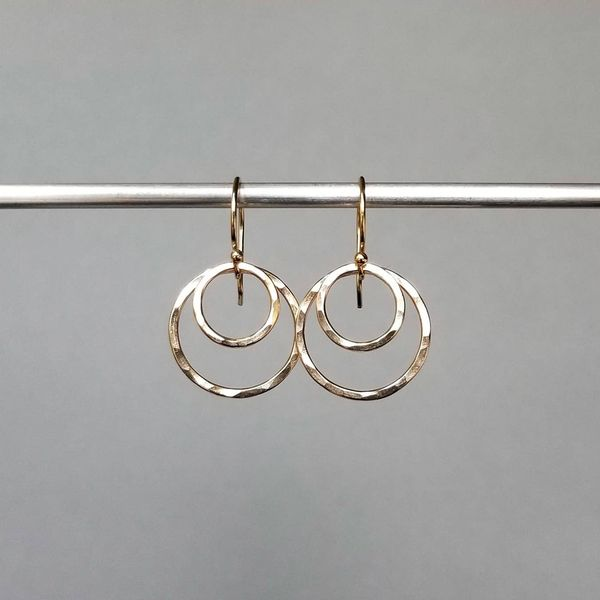 Yellow Gold Filled Small Double Hammered Circle Earrings J. Schrecker Jewelry Hopkinsville, KY