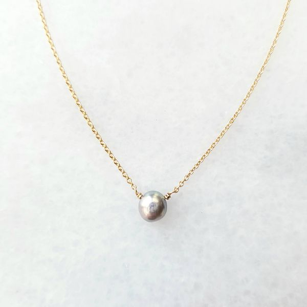 Light Gray Pearl Solitaire Necklace on Yellow Gold Filled Chain Image 2 J. Schrecker Jewelry Hopkinsville, KY