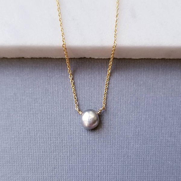 Light Gray Pearl Solitaire Necklace on Yellow Gold Filled Chain J. Schrecker Jewelry Hopkinsville, KY