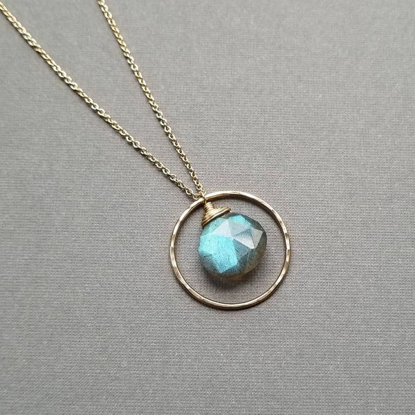 Yellow Gold Filled Faceted Labradorite Briolette with Round Hammered Halo Necklace J. Schrecker Jewelry Hopkinsville, KY