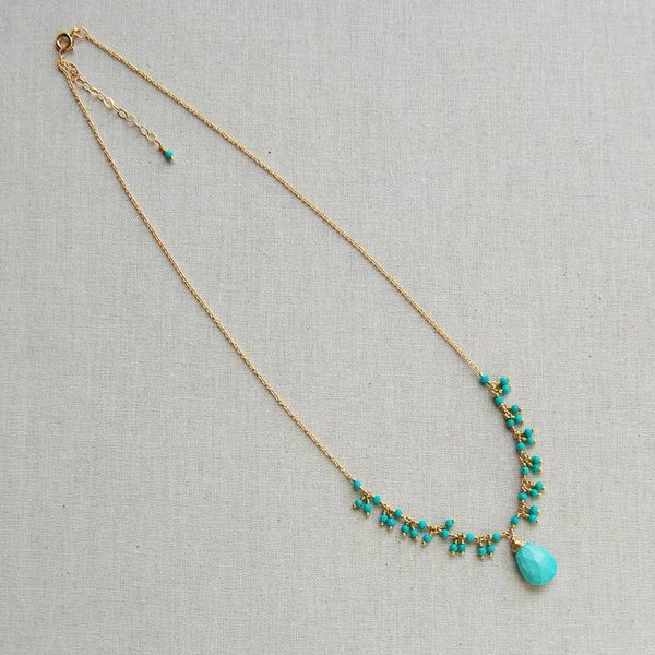 Yellow Gold Filled Delicate Turquoise Fringe Necklace with Faceted Briolette Image 2 J. Schrecker Jewelry Hopkinsville, KY