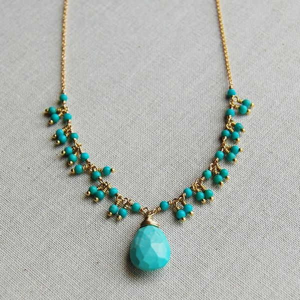 Yellow Gold Filled Delicate Turquoise Fringe Necklace with Faceted Briolette Image 3 J. Schrecker Jewelry Hopkinsville, KY