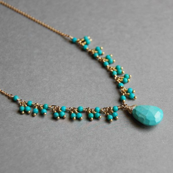 Yellow Gold Filled Delicate Turquoise Fringe Necklace with Faceted Briolette J. Schrecker Jewelry Hopkinsville, KY