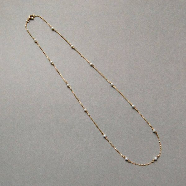 Yellow Gold Filled Pearl Station Necklace Image 2 J. Schrecker Jewelry Hopkinsville, KY