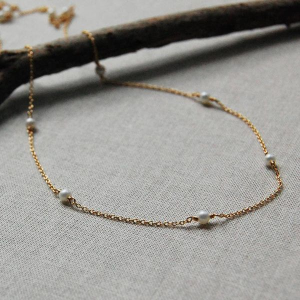 Yellow Gold Filled Pearl Station Necklace J. Schrecker Jewelry Hopkinsville, KY