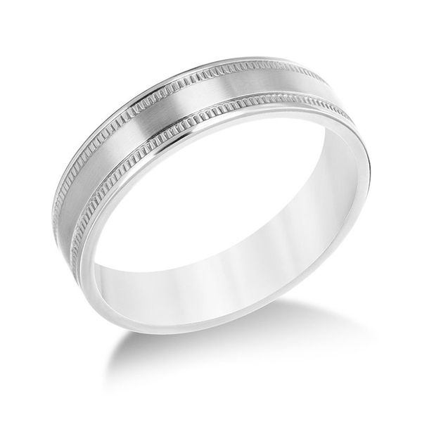 6 Millimeter Brushed Finish Titanium Band with Milgrain Detail with Polished Edges J. Schrecker Jewelry Hopkinsville, KY