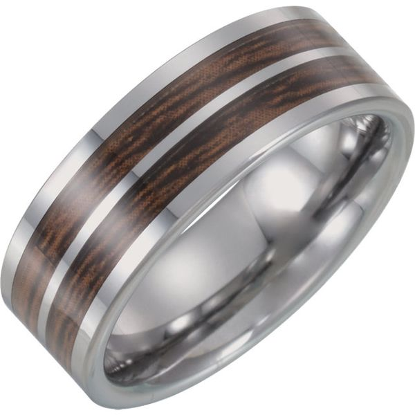 Tungsten Wedding Band with Wood and Carbon Fiber Inlay J. Schrecker Jewelry Hopkinsville, KY