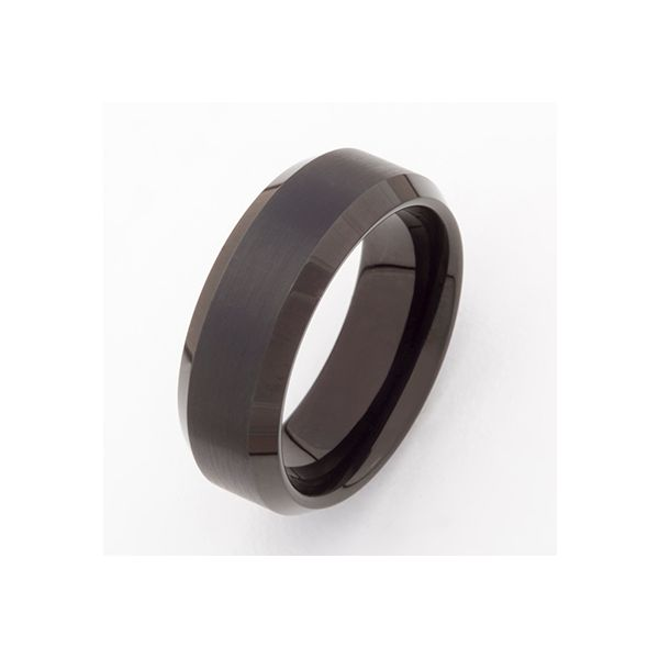 Black Tungsten Band with Beveled Edge J. Schrecker Jewelry Hopkinsville, KY