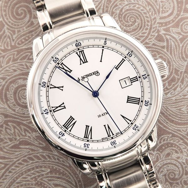 Man's Automatic Watch with Stainless Steel Case and Bracelet with White Dial J. Schrecker Jewelry Hopkinsville, KY