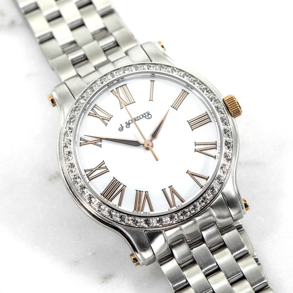Lady's Stainless Steel Watch with White Dial and Rose Gold Accents J. Schrecker Jewelry Hopkinsville, KY