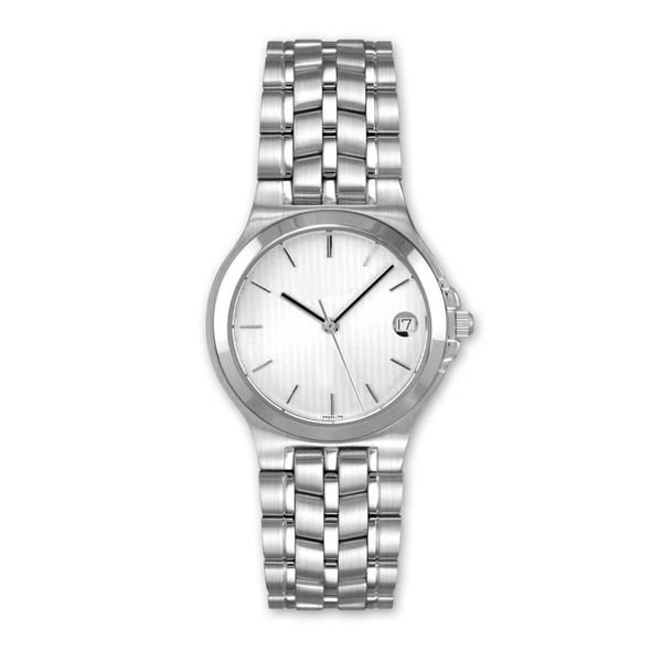 Man's Stainless Steel Watch with Silvertone Pinstripe Dial J. Schrecker Jewelry Hopkinsville, KY