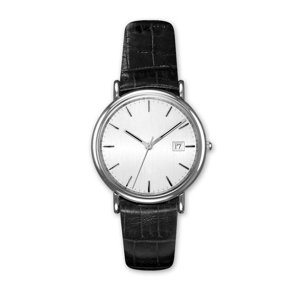 Man's Stainless Steel Watch with Black Leather Watchband J. Schrecker Jewelry Hopkinsville, KY