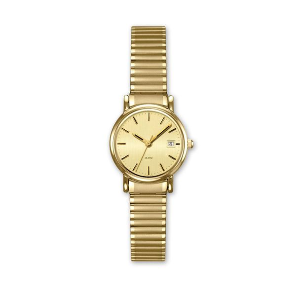 Ladies Goldtone Watch with Champagne Dial and Expansion Band J. Schrecker Jewelry Hopkinsville, KY