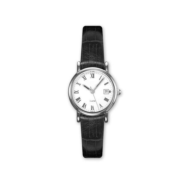 Lady's Stainless Steel Watch with White Dial and Black Leather Watchband J. Schrecker Jewelry Hopkinsville, KY