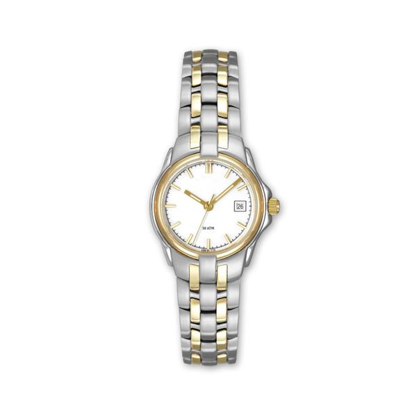 Lady's Two Tone Stainless Steel Watch with White Dial & Date J. Schrecker Jewelry Hopkinsville, KY