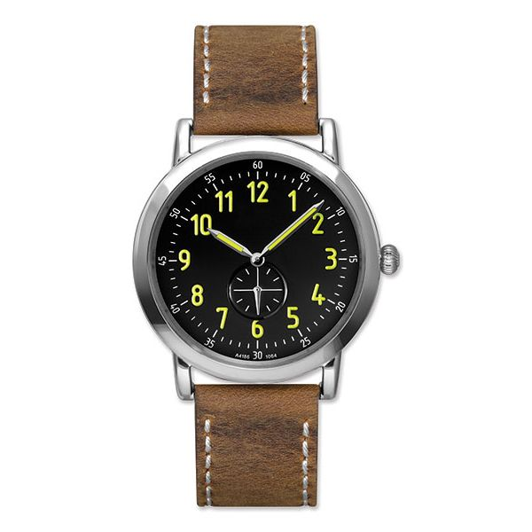 Man's Stainless Steel Watch with Sueded Brown Genuine Leather Strap J. Schrecker Jewelry Hopkinsville, KY