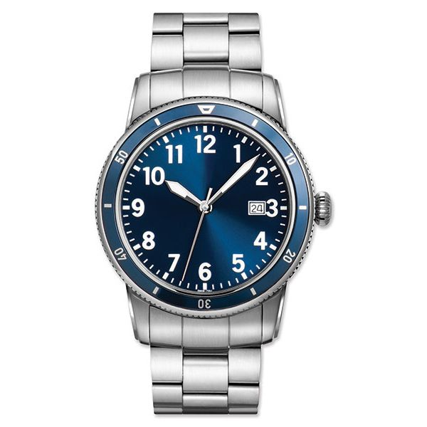 Man's Stainless Steel Watch with Blue Dial and Brushed Finish Bracelet J. Schrecker Jewelry Hopkinsville, KY