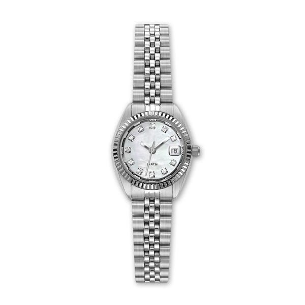 Ladies Stainless Steel Watch with Diamond and Light Mother of Pearl Dial J. Schrecker Jewelry Hopkinsville, KY