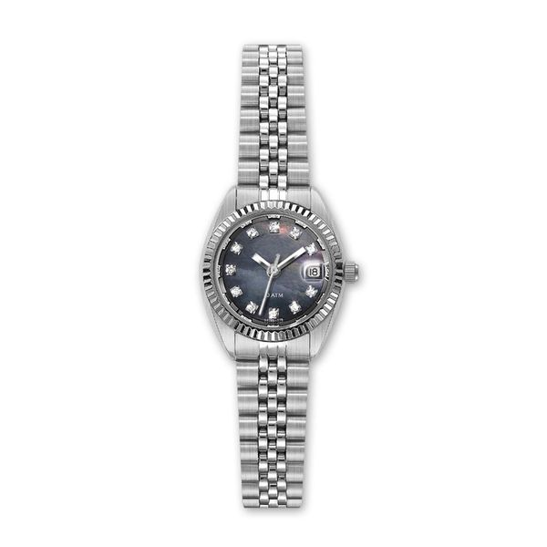 Ladies Stainless Steel Watch with Diamond and Dark Mother of Pearl Dial J. Schrecker Jewelry Hopkinsville, KY