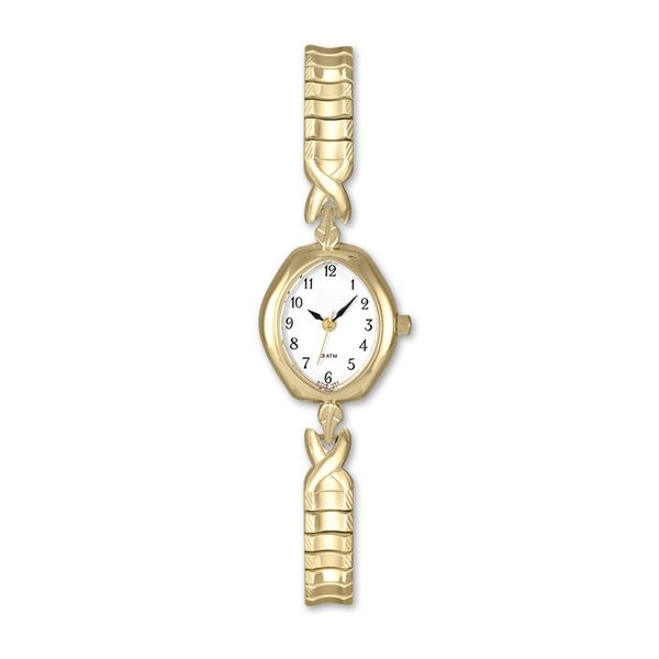 Ladies Yellow-tone Watch with Stretch Band and White Dial J. Schrecker Jewelry Hopkinsville, KY